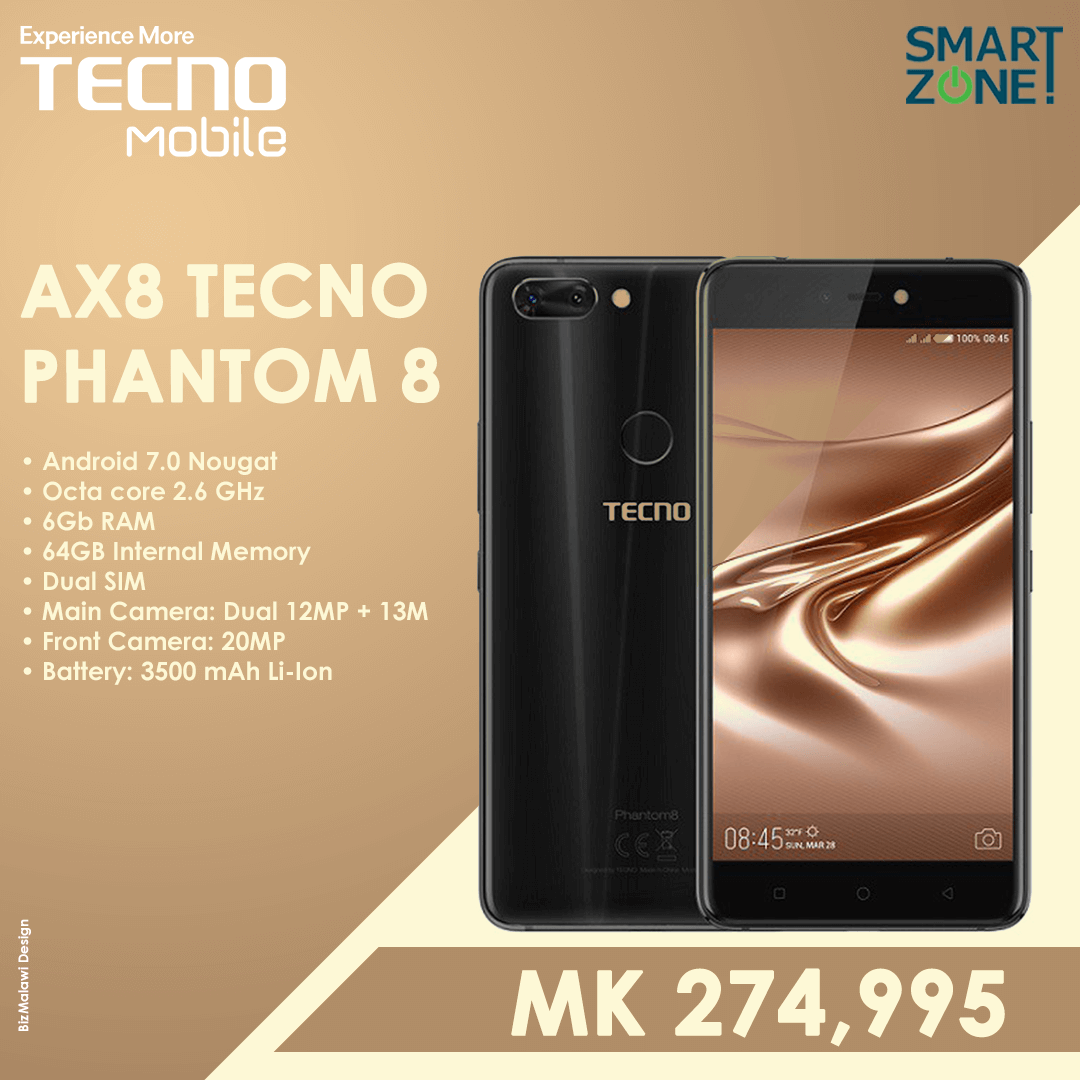 AX8 Tecno Phantom 8 - MK274,995  CONTA...