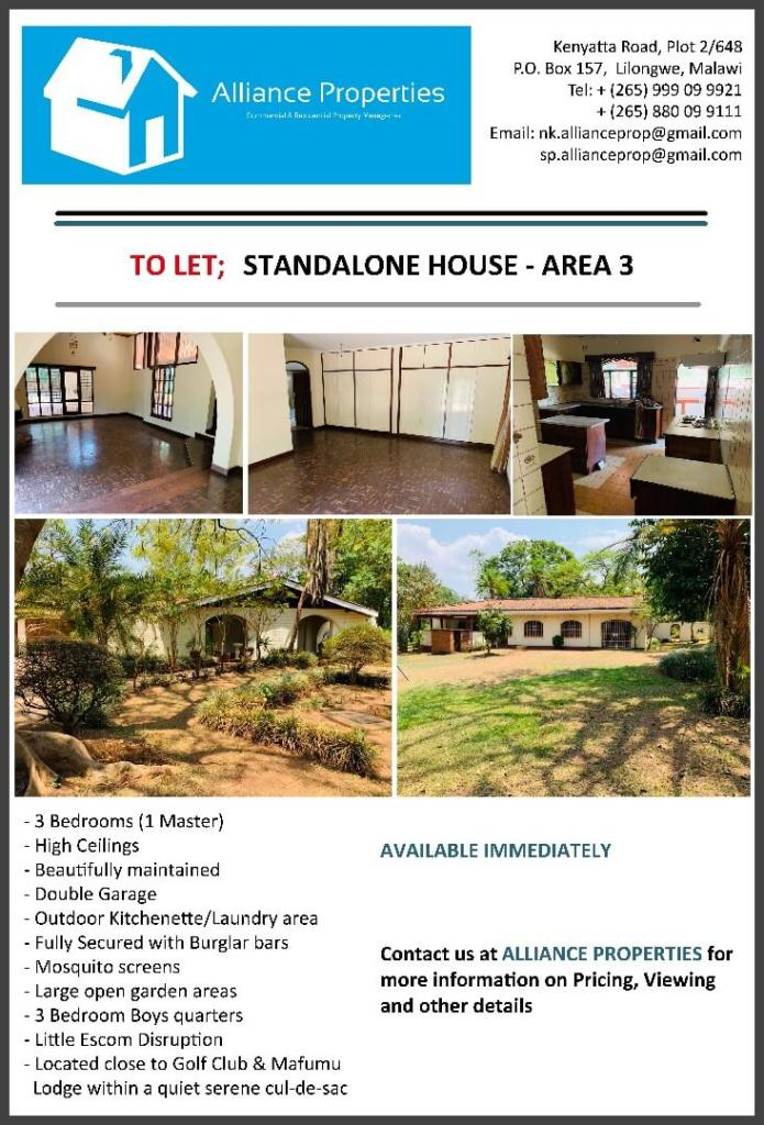 Standalone House To Let - Area 3