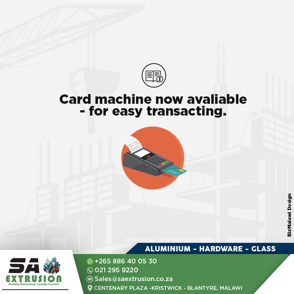 We have a card machine for easy transact...