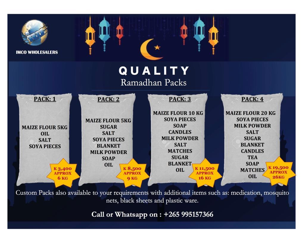 QUALITY RAMADAN PACKS AVAILABLE NOW...
