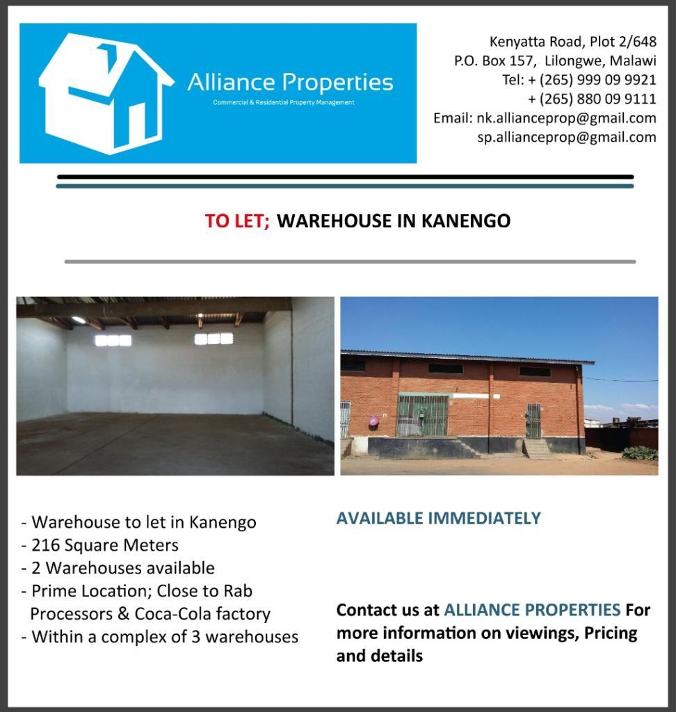 Warehouse To Let - Kanengo Contact us o...
