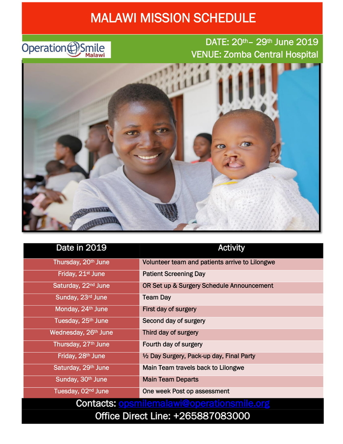 Smile Mission Malawi Schedule...