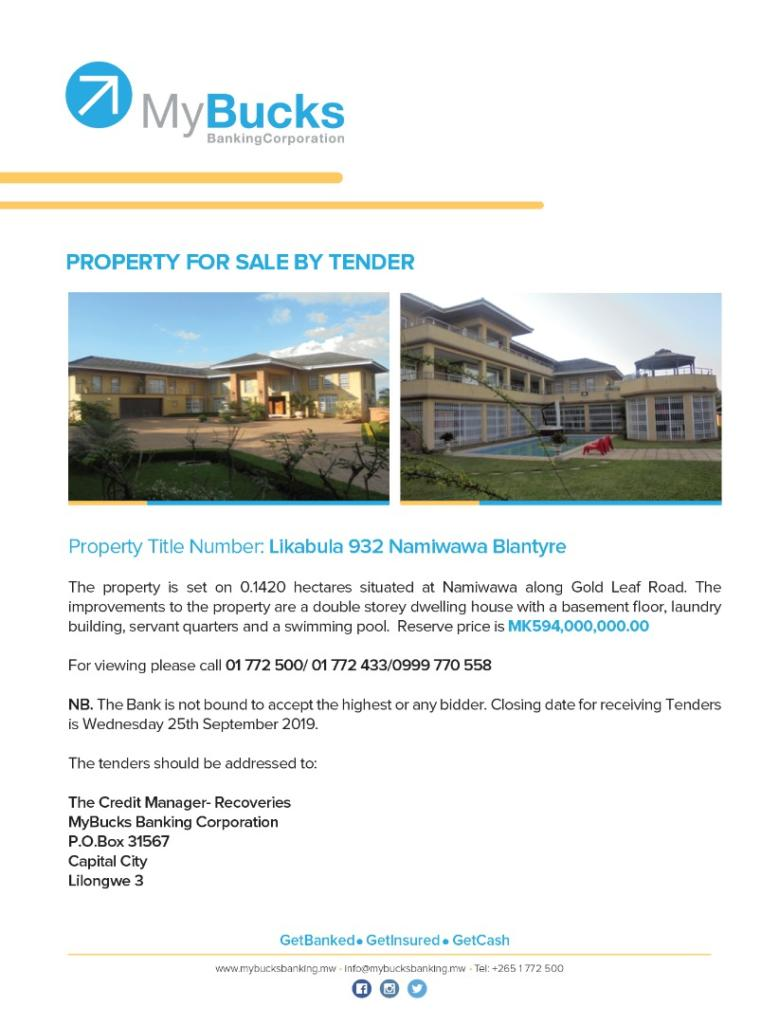 Property For Sale By Tender...