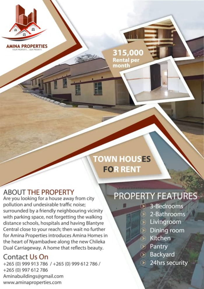 Amina Properties Townhouses For Rent...