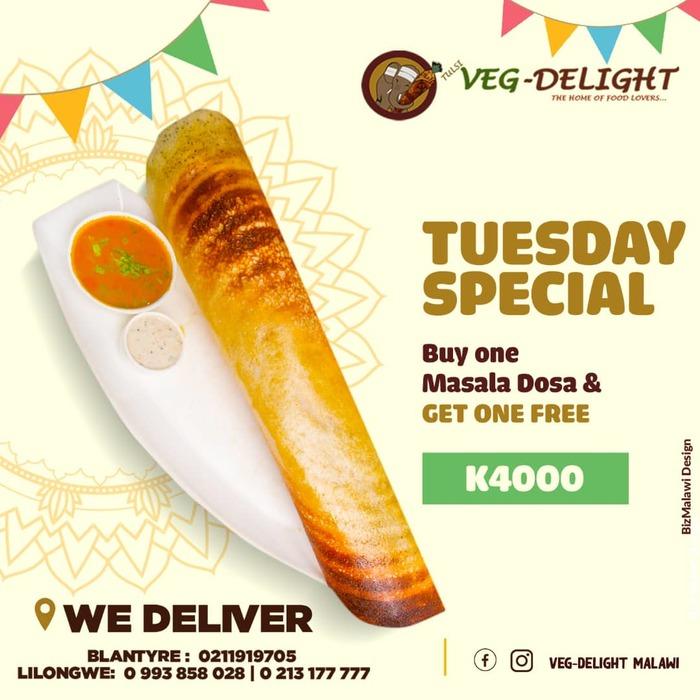 Veg Delight Tuesday Special...