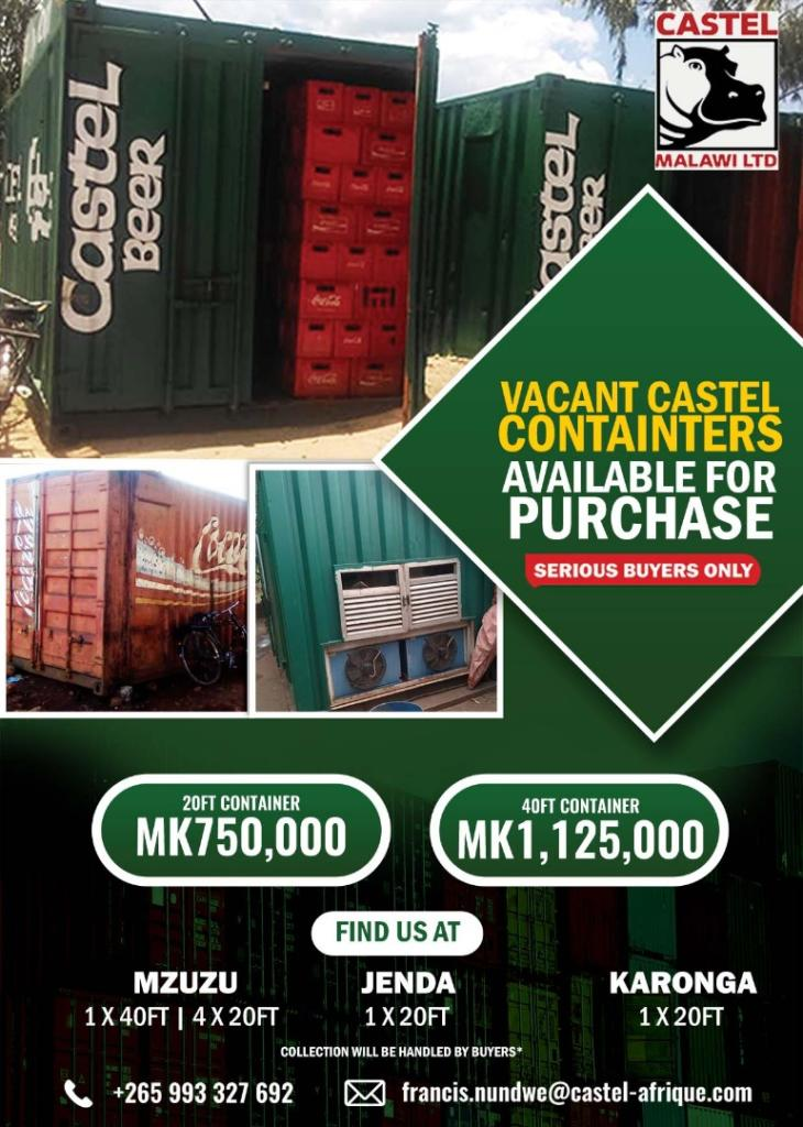 Vacant Castel containers available for p...