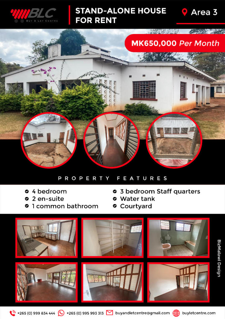4 bedroom house available in Area 3 Lilo...