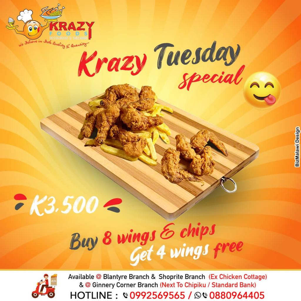 4 FREE WINGS on our Tuesday Special. Buy...